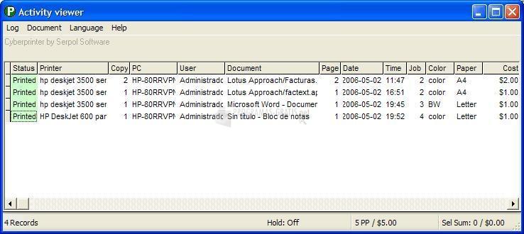 Pantallazo Cyberprinter Monitor
