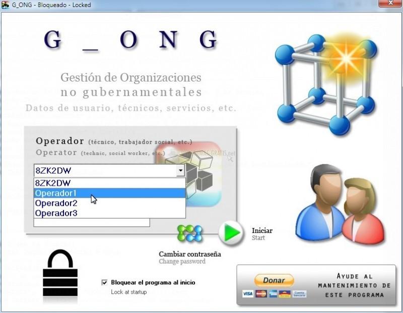Pantallazo Gestión de ONGs