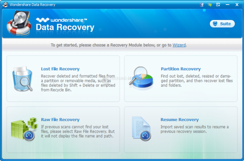Pantallazo Wondershare Data Recovery