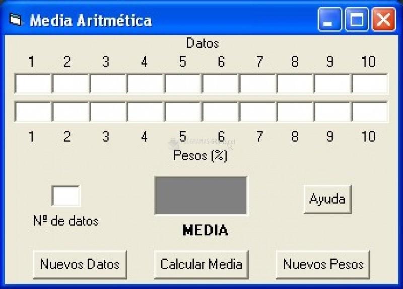 Pantallazo Calculadora de Medias Aritméticas