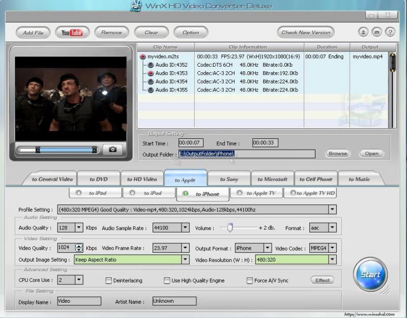 Pantallazo Winx HD Video Converter Deluxe