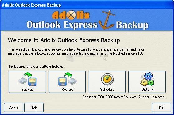 Pantallazo Adolix Outlook Express Backup