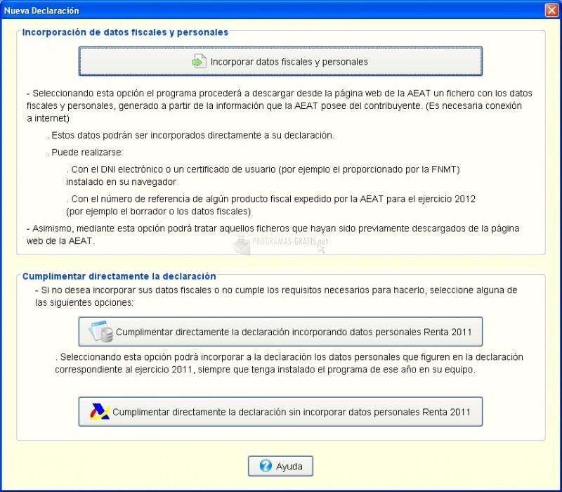 Pantallazo Renta 2012 (Programa PADRE)
