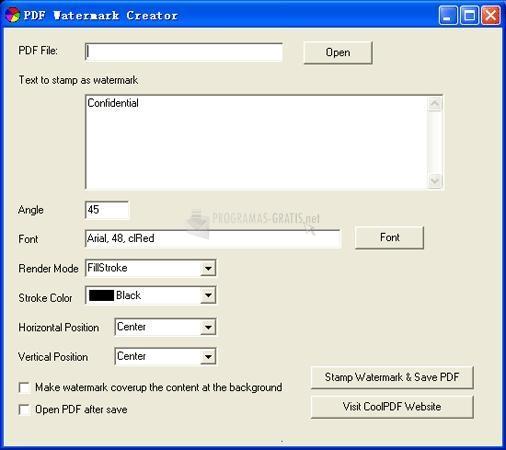 Pantallazo PDF Watermark Creator