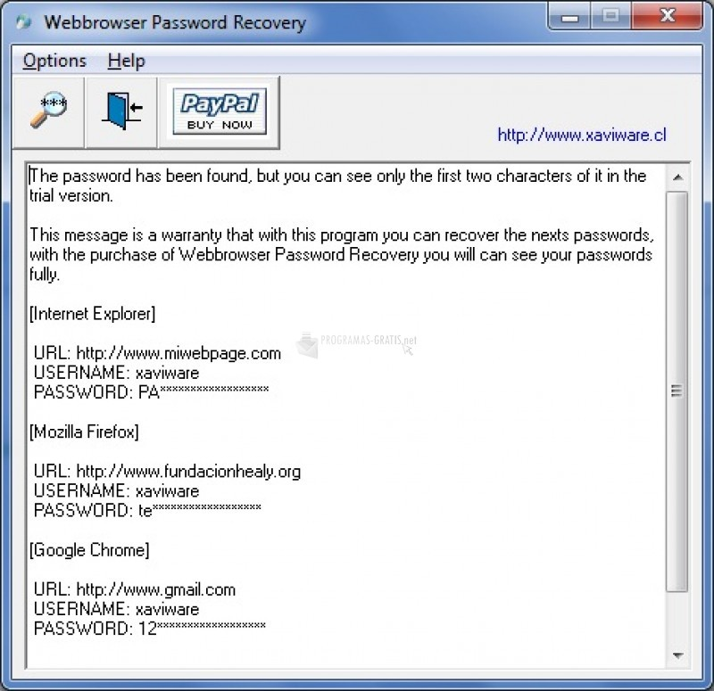Pantallazo Webbrowser Password Recovery