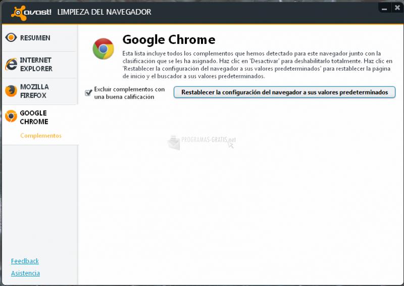 Pantallazo avast! Browser Cleanup