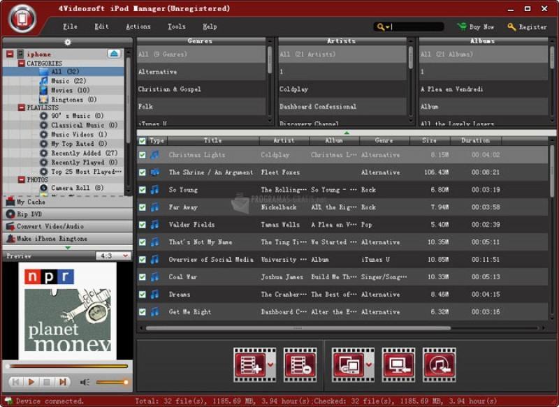 Pantallazo 4Videosoft iPod Manager