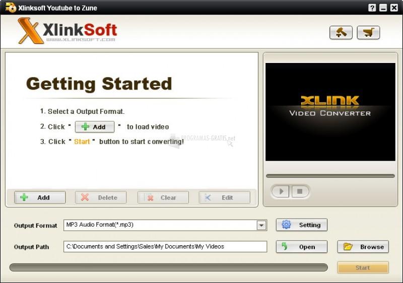 Pantallazo Xlinksoft YouTube to Zune Converter