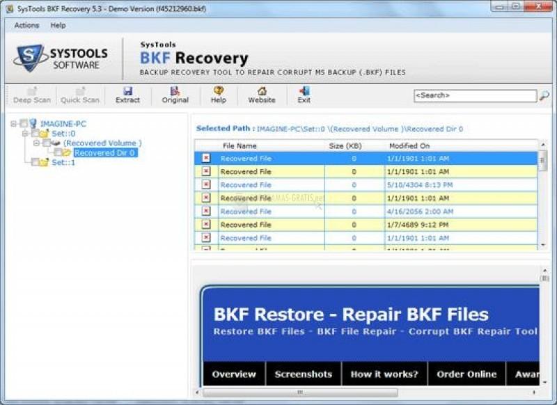 Pantallazo BKF Recovery