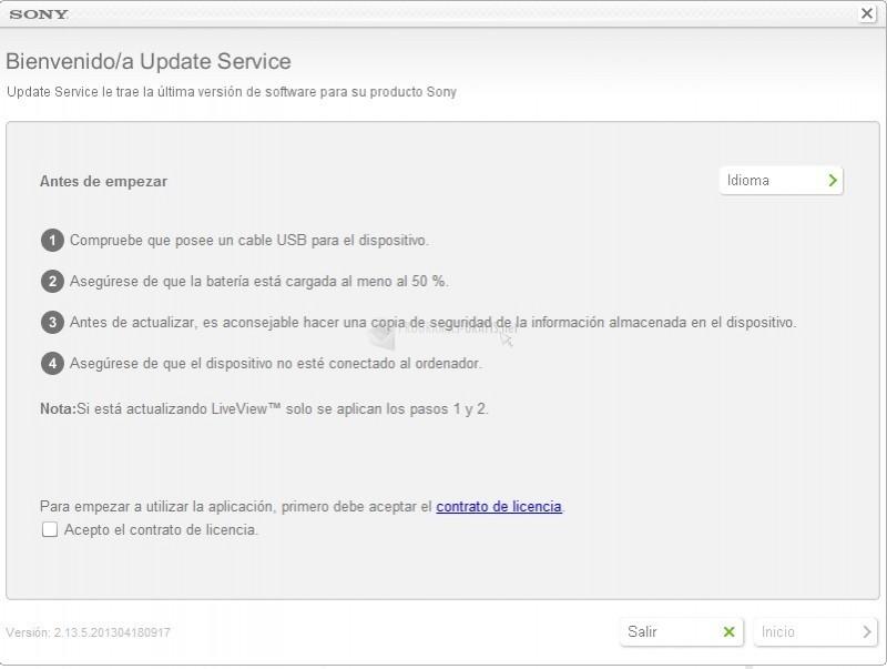 Pantallazo Sony Ericsson Update Service