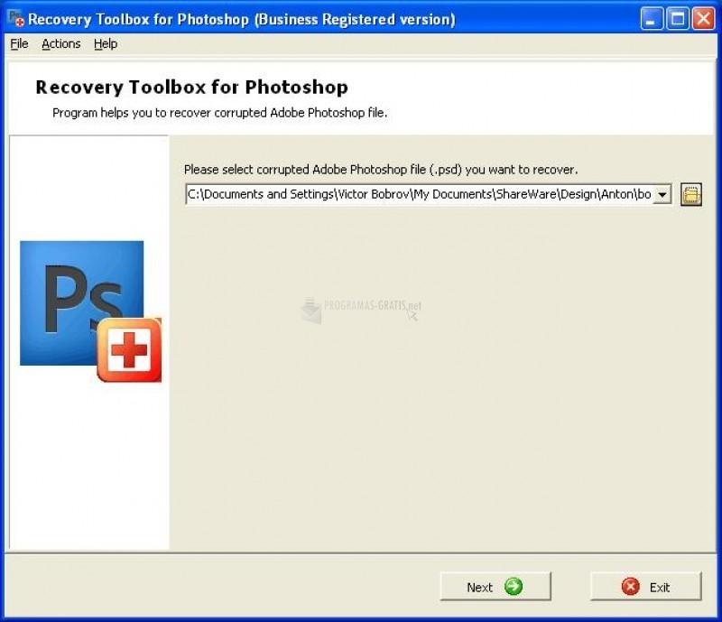 Pantallazo Recovery Toolbox for Photoshop