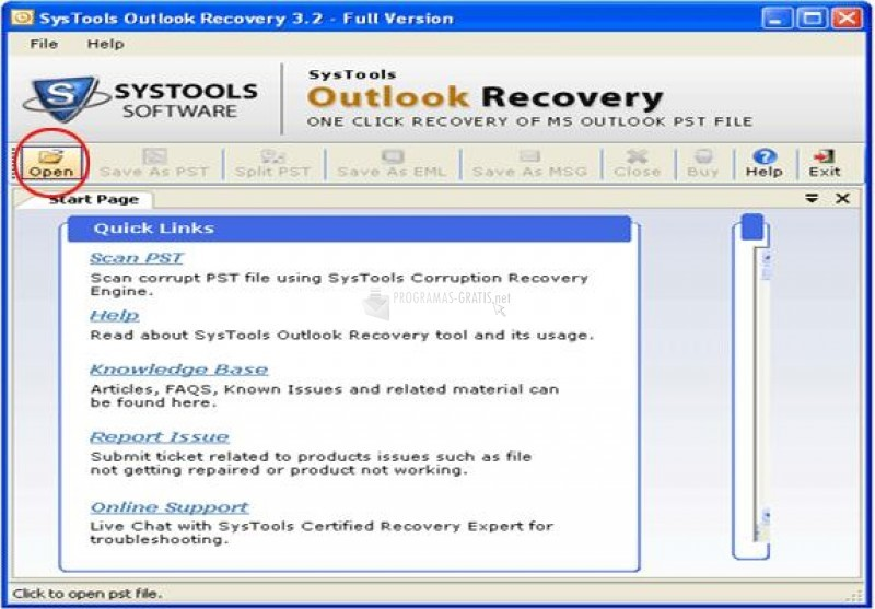 Pantallazo SysTools Outlook Recovery