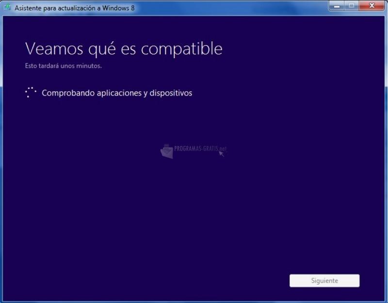 Pantallazo Asistente para la actualización a Windows 8