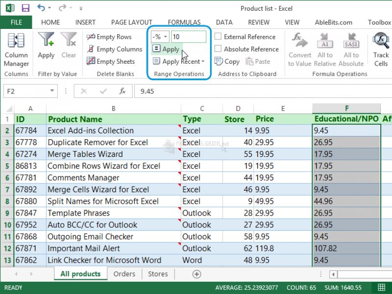 Pantallazo Quick Tools for Excel