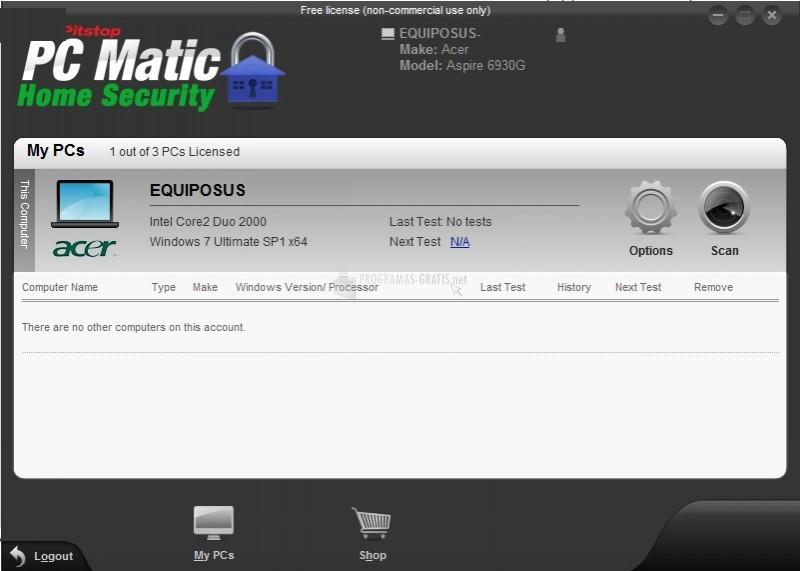 Pantallazo PC Matic Home Security