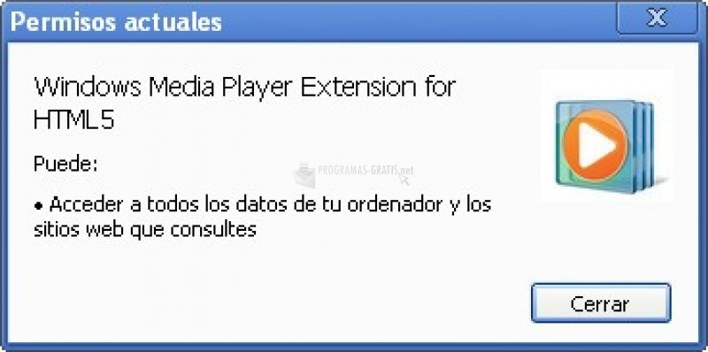Pantallazo Windows Media Player Extension for HTML5 (Chrome)
