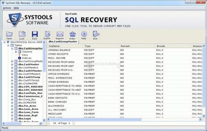 Pantallazo SQL Data Restore