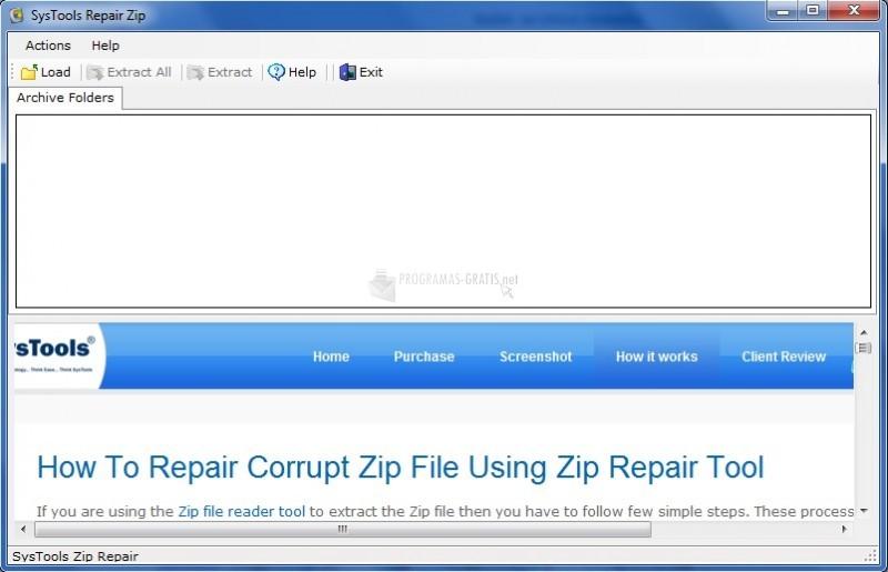 Pantallazo Zip Open File Tool