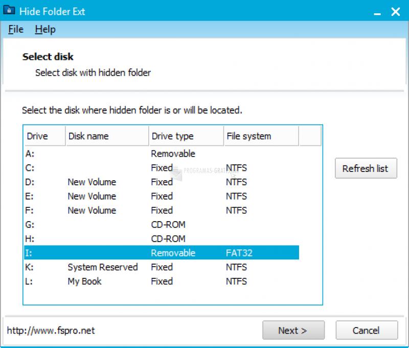 Pantallazo Hide Folder Ext