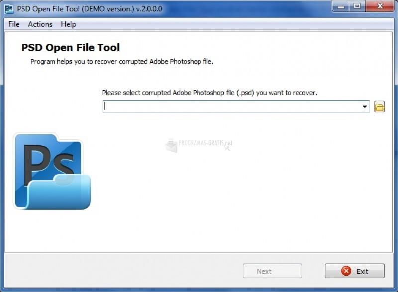 Pantallazo PSD Open File Tool