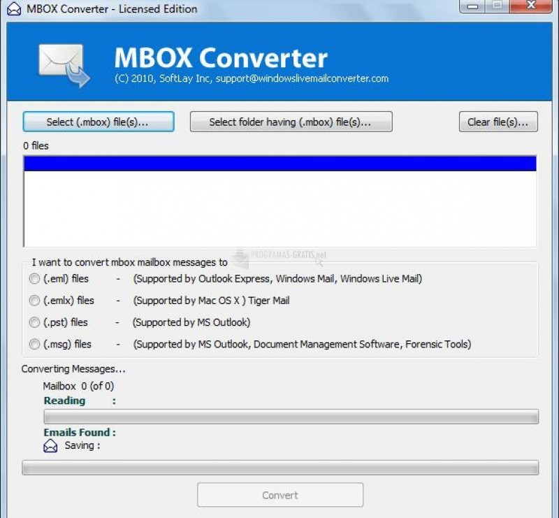 Pantallazo MBOX Converter