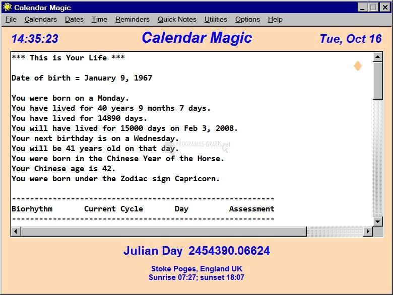 Pantallazo Calendar Magic