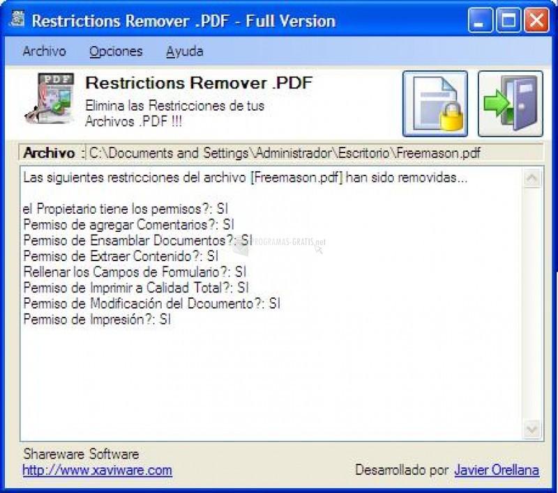 Pantallazo Restrictions Remover .PDF