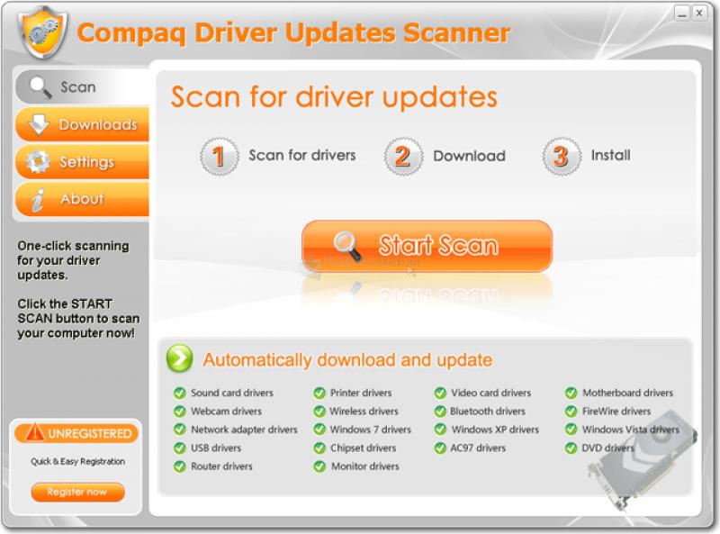 Pantallazo Compaq Driver Updates Scanner