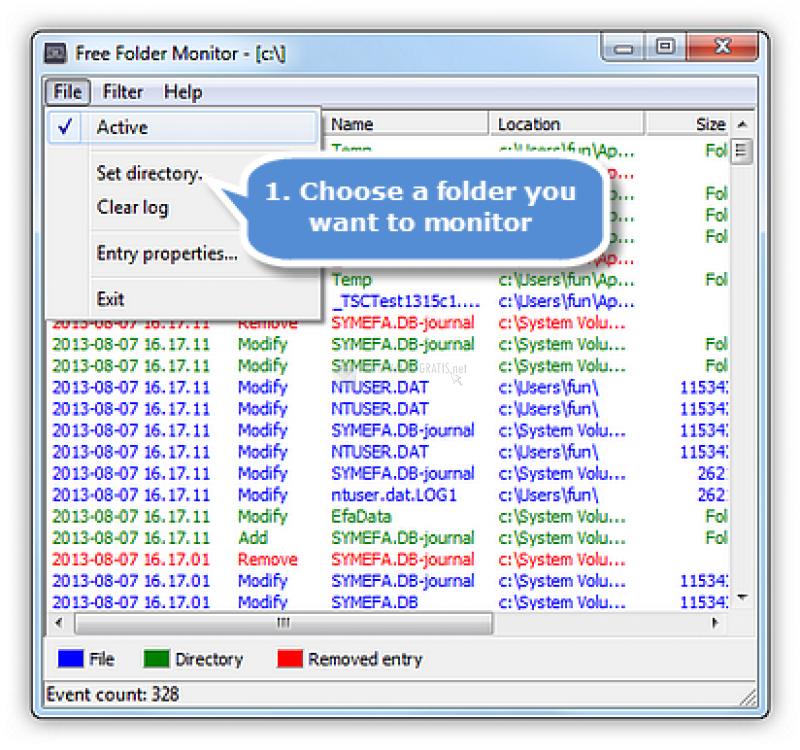 Pantallazo Free Folder Monitor
