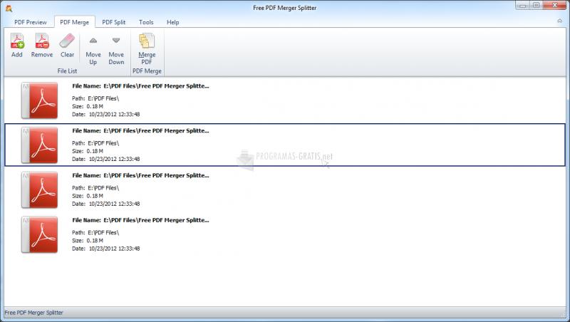 Pantallazo Free PDF Merger Splitter