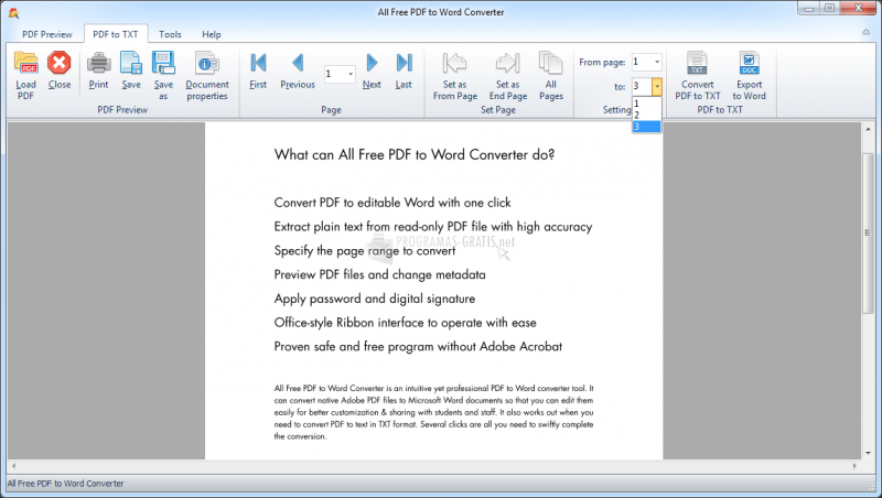 Pantallazo All Free PDF to Word Converter