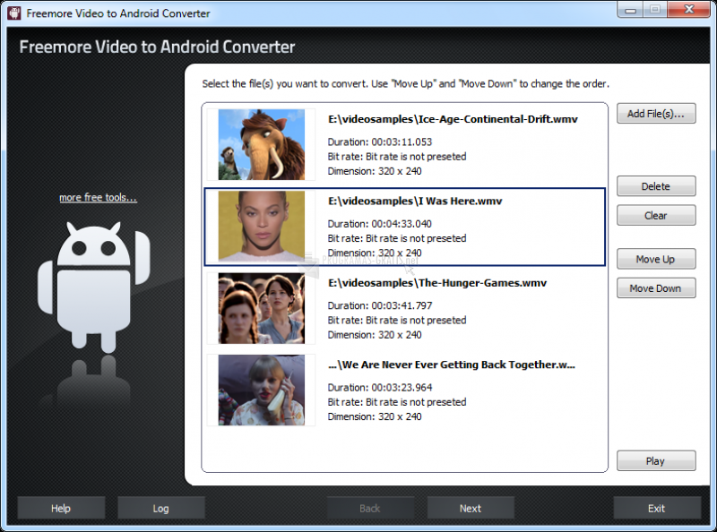 Pantallazo Freemore Video to Android Converter