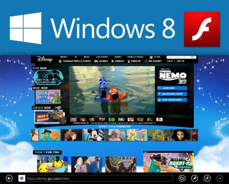 Pantallazo Adobe Flash Player para Windows 8