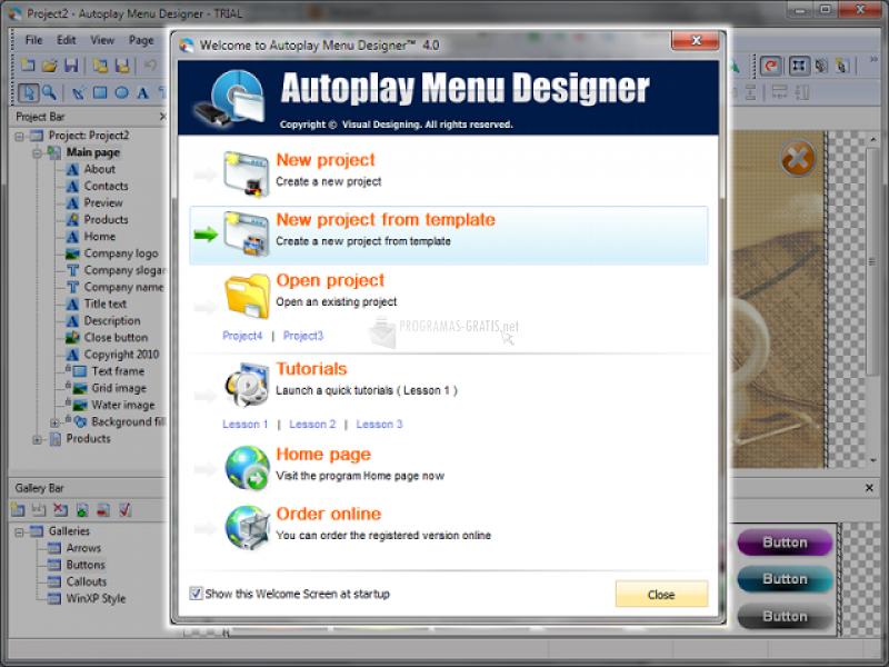 Pantallazo Autoplay Menu Designer