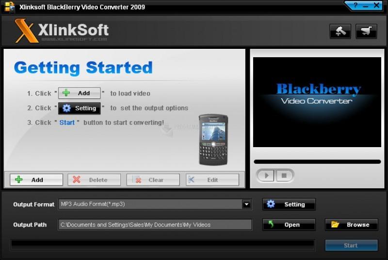 Pantallazo XlinkSoft Blackberry Video Converter