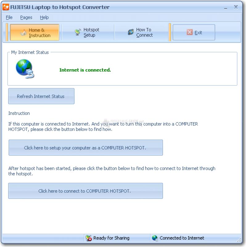 Pantallazo FUJITSU Laptop to Hotspot Converter