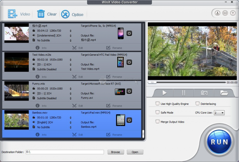 Pantallazo WinX Video Converter
