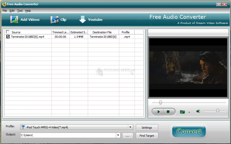 Pantallazo Free DVD to Zune Converter