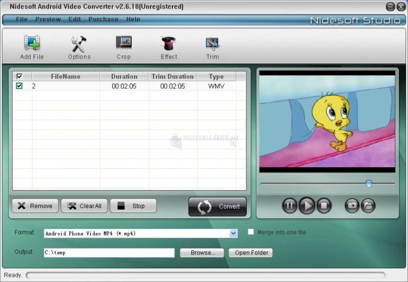Pantallazo Nidesoft Android Video Converter