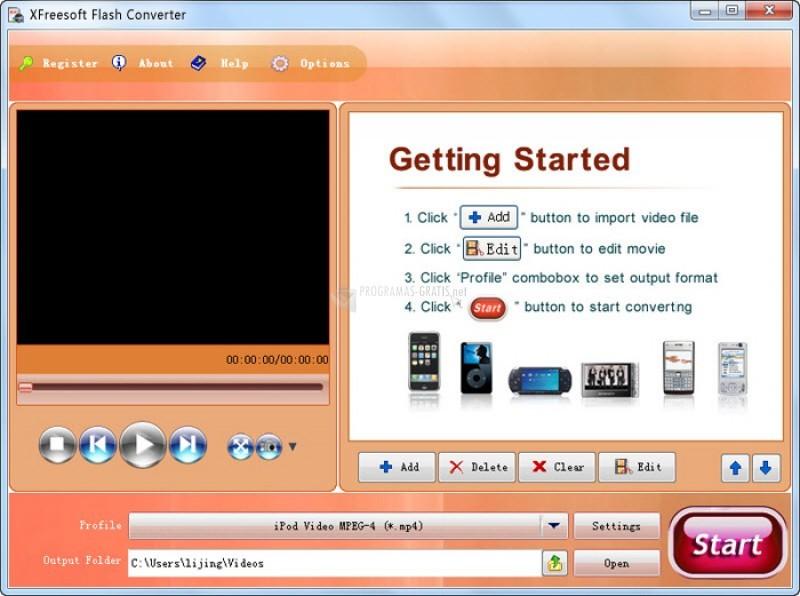 Pantallazo XFreesoft Flash Converter