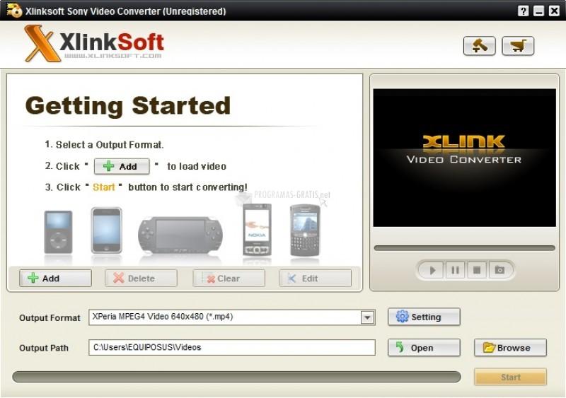 Pantallazo Xlinksoft Sony Video Converter