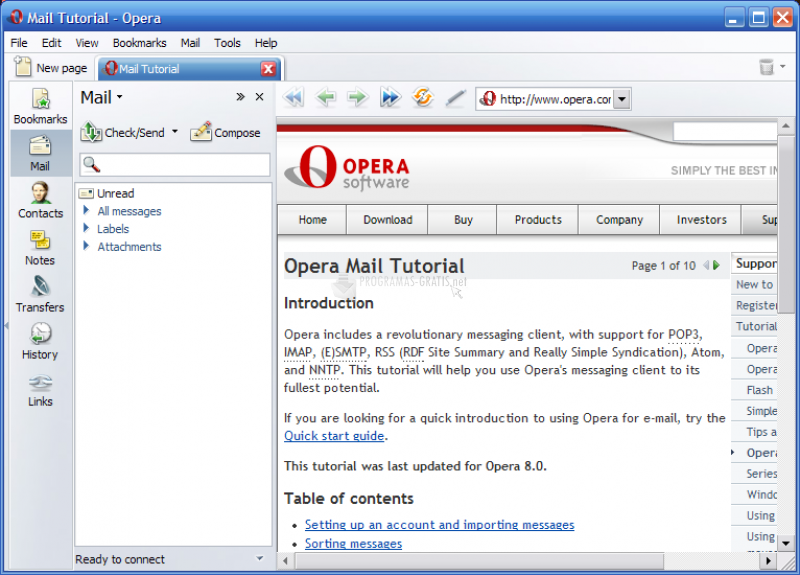 Opera Mail, Programa de Correo Electrónico Windows