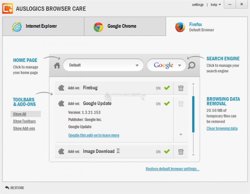 Pantallazo Auslogics Browser Care