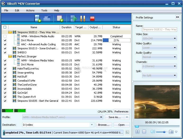 Pantallazo Xilisoft MOV Converter