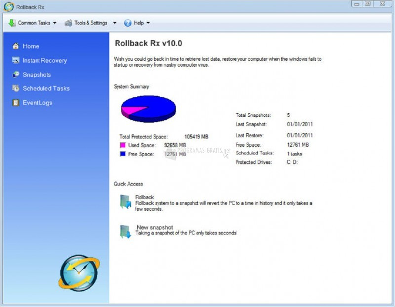 Pantallazo RollBack Rx PC
