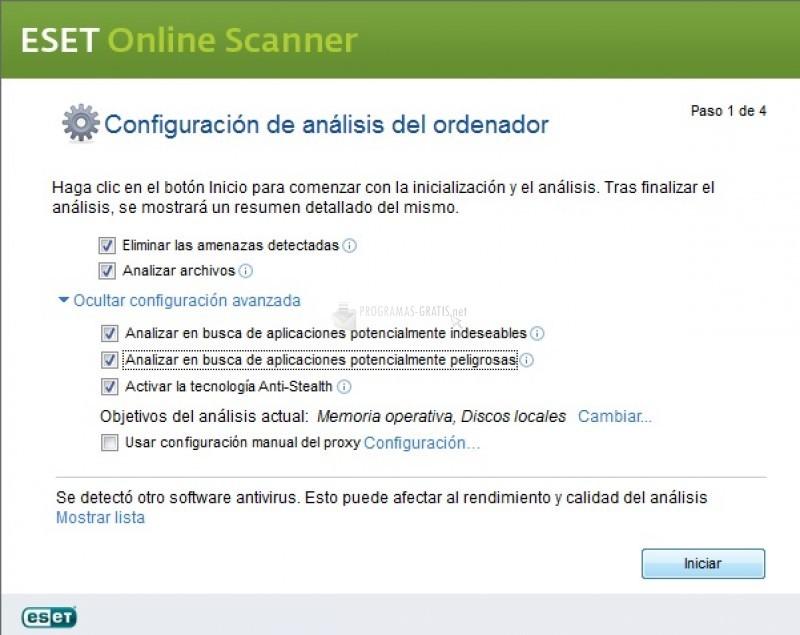Pantallazo Eset Online Scanner