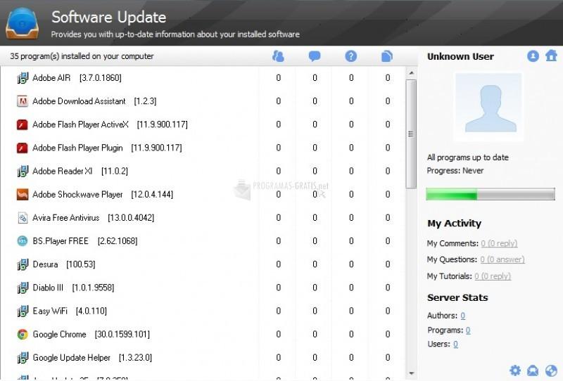 Pantallazo Software Update