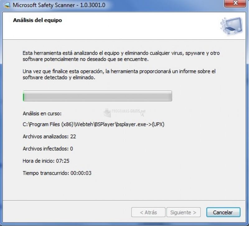 Pantallazo Microsoft Safety Scanner