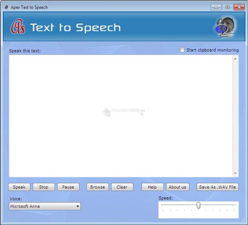 Pantallazo Text to Speech