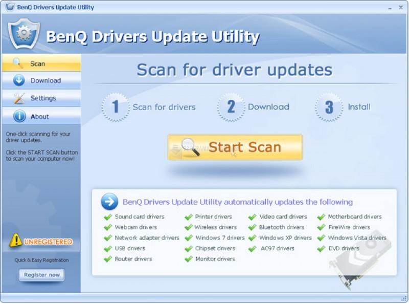 Pantallazo BenQ Drivers Update Utility